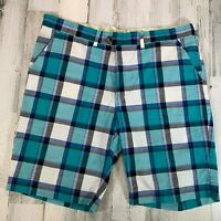 Loudmouth Golf Shorts Size 42 x 11 Blue Plaid Men's