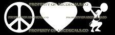PEACE LOVE CROSSFIT deadlift power squat Vinyl Sticker Car Bumper Window Decal
