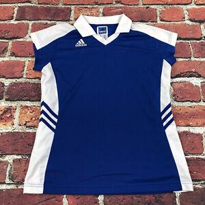 adidas Womens medium polo tennis top Jersey Shirt blue White jersey mesh