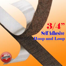 """3/4"""" x 5 Yards 15 FT Black Self Adhesive Hook and Loop 20mm Stick On Tape Fabric"""