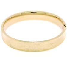 14K Yellow Gold 10.75mm Wide Hand Etched Leaf Concave Open Bangle Bracelet 16.1g