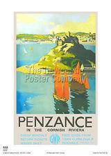 PENZANCE CORNWALL RETRO VINTAGE RAILWAY TRAVEL POSTER ADVERTISING ART