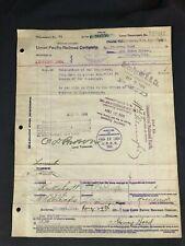 Circa 1904 Union Pacific Railroad Document Mr. Govey Hood