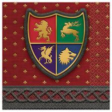 16 x Medieval Shield Napkins Wizard Party Heraldry Medieval Banquet Hog Roast