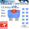 Fuses STANDARD blade smart 15 AMP LED Glow Blown ATO ATC automotive regular fuse