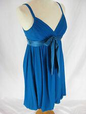 Size 10 12 AGNES B Paris Teal Silk Designer  Cocktail part dress