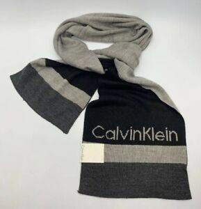 Calvin Klein Grey, Black Men's One Size Modernist Logo Muffler Scarf It/529