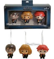 Hallmark Harry Potter Chibi Ron Harry & Hermione Christmas Holiday Ornament Set
