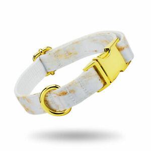 Luxury Gold Marble Print Dog Collar Leash Set Adjustable Dogs Wedding Collars