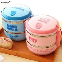1-4 Layer Hello Kitty Thermal Insulated Lunch Box Stainless Steel Food Container