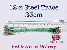 12 X Steel Fishing Trace Lures Leader Wire Steel  23cm         **UK SELLER**