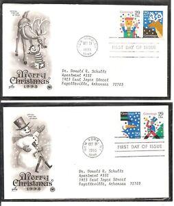 US SC # 2799-2802 Christmas 1993. Postal Commemorative Society Cachet