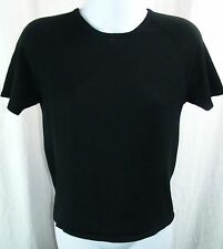 August Silk 100% Silk Knit Top/Blouse M Black Round Neck Short Sleeve Lightweigh