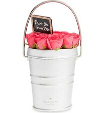 NWT Kate Spade ROSE COLORED GLASSES Rose Pail Silver LEATHER Bucket BAG Flowers