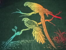 VINTAGE.MORA BLANKET.REVERSIBLE.BIRDS.PARROT.TOUCAN.RAINBOW COLOR AND GREEN