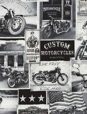 "Timeless Treasures fabric VINTAGE MOTORCYCLE NEWS- 25"""