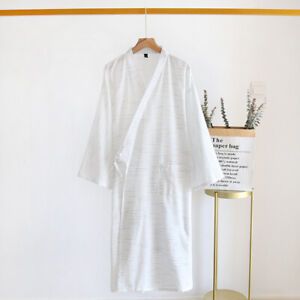 Mens Cardigan Check Kimono Sleepwear Yukata Cotton Bathrobe Nightwear Homewear