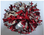 High quality Football Basketball Halloween Cheerleader 2PomPoms Red mix Silver
