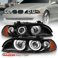 1997-2003 Black Dual Halo Projector Headlights For Bmw E39 5-Series 528i/540i (Fits: Bmw)