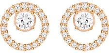 Cristales de Swarovski creatividad círculo blanco, Chapado en Oro Rosa Pendientes 5199827