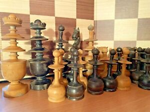 Antique Original Turned Wood French Regence Chess Pieces Set Choose Piece