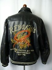 Men's vintage REDSKINS DRAGON TEDDY VESTE EN CUIR 46R (XL)