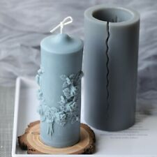 Cylindrical Candle Mold European Style Fancy Retro Carving Candle Silicone Mold