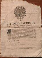 1703 TORINO GUERRA SUCCESSIONE SPAGNOLA BANDO SU RIPRISTINO DELLE ARMI PERSONALI