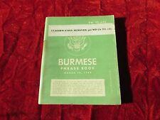 TM 30-632 Burmese Phrase Book 3/10/44 WW 2 Era US Army Airborne special forces