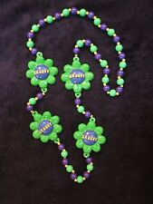 "Cool ""Groovy Flowers"" Green Mardi Gras Necklace Bead Hippy Love (B1061)"