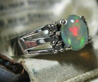 Beautiful STERLING SILVER Real Fire OPAL Gem Stone Art Deco Revival RING N 6.75