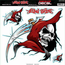 Lethal Threat Grim Reaper Head 12x12 Inches Decal Sticker Car SUV Truck Bike