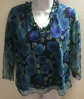 top blouse xl extra large womens sheer floral print v neck casual stretch
