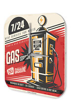 Wall Clock Nostalgic Car Retro  gas station 24 Vintage Decoration