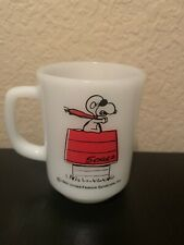 Snoopy Orange Red Baron Coffee Mug Cup Vintage Fire King Anchor Hocking