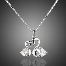 Sparkly Shiny Clear White Genuine Zircon Swan Love Necklace Pendant Jewellery