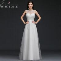 Tulle Wedding Dress Bridal Gown Beach Boho A-line White/Ivory Applique Size 2-16