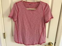 Woman's Talbots size medium hello Saturday tee red stripe short sleeve top