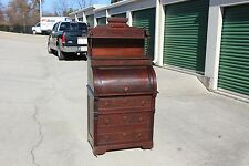 Walnut Victorian Original Finish Cylinder Roll Desk w 3 Drawers & Fancy Gallery