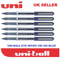 6 x UNI BALL EYE MICRO UB-150 ROLLERBALL PEN BLUE COLOUR – Cheapest on Ebay