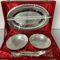Antique Vintage Set Tray, Dish & Spoon Silverplate Elegant Design V6