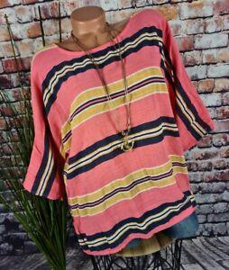 Italy SOMMER OVERSIZE LEINEN-OPTIK Shirt Bluse gestreift CORAL 40-44
