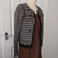 Karen millen Quilt Texture Zip Up cardigan black/white size XS UK 1 (6/8)