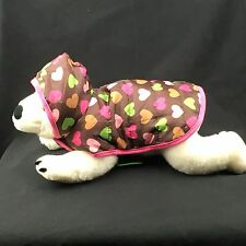 Top Paw quilted heart hooded puffer dog coat pink green brown XS S
