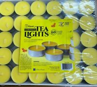 Party Citronella Tea Lights Candles -2 x 60 Pack- Naturally Scented Burns 4hr