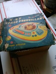 Vtg Modern Toys Tin Litho Space Surveillant Ship Japan Space Toy X-07 Box