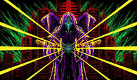 UV Backdrop Fluorescent Tapestry 80s Retro Synth Wave Cyber Banner Wall Hanging