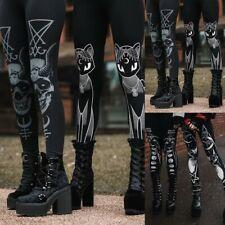 Fashion Women Gothic Style Stretch Skinny Leggings Goth Sneaker Print Pantaloni