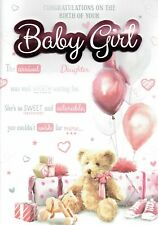 BIRTH OF YOUR BABY GIRL Daughter - CONGRATULATIONS Luxury Large Multi Page CARD