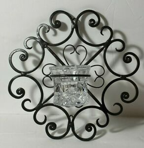Black Metal Scroll Heart Candle Holder Wall Sconce with Glass Candle Holder